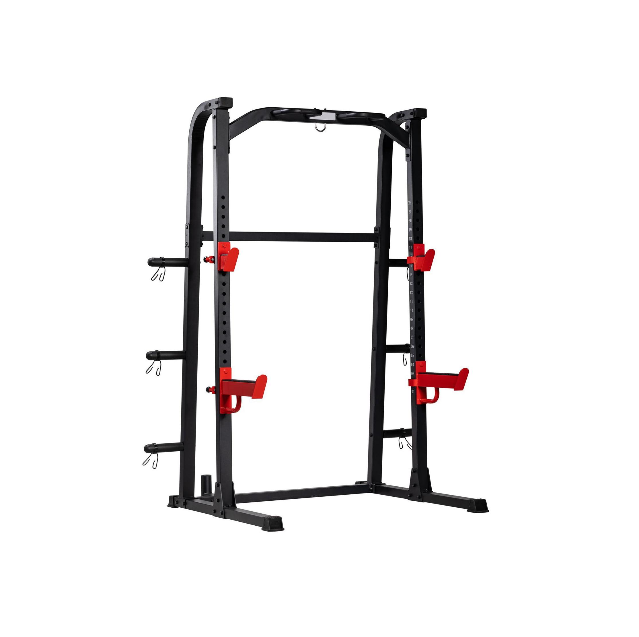 TEKKFIT - Half rack squat rack doppio con barra di trazione 6 porta dischi