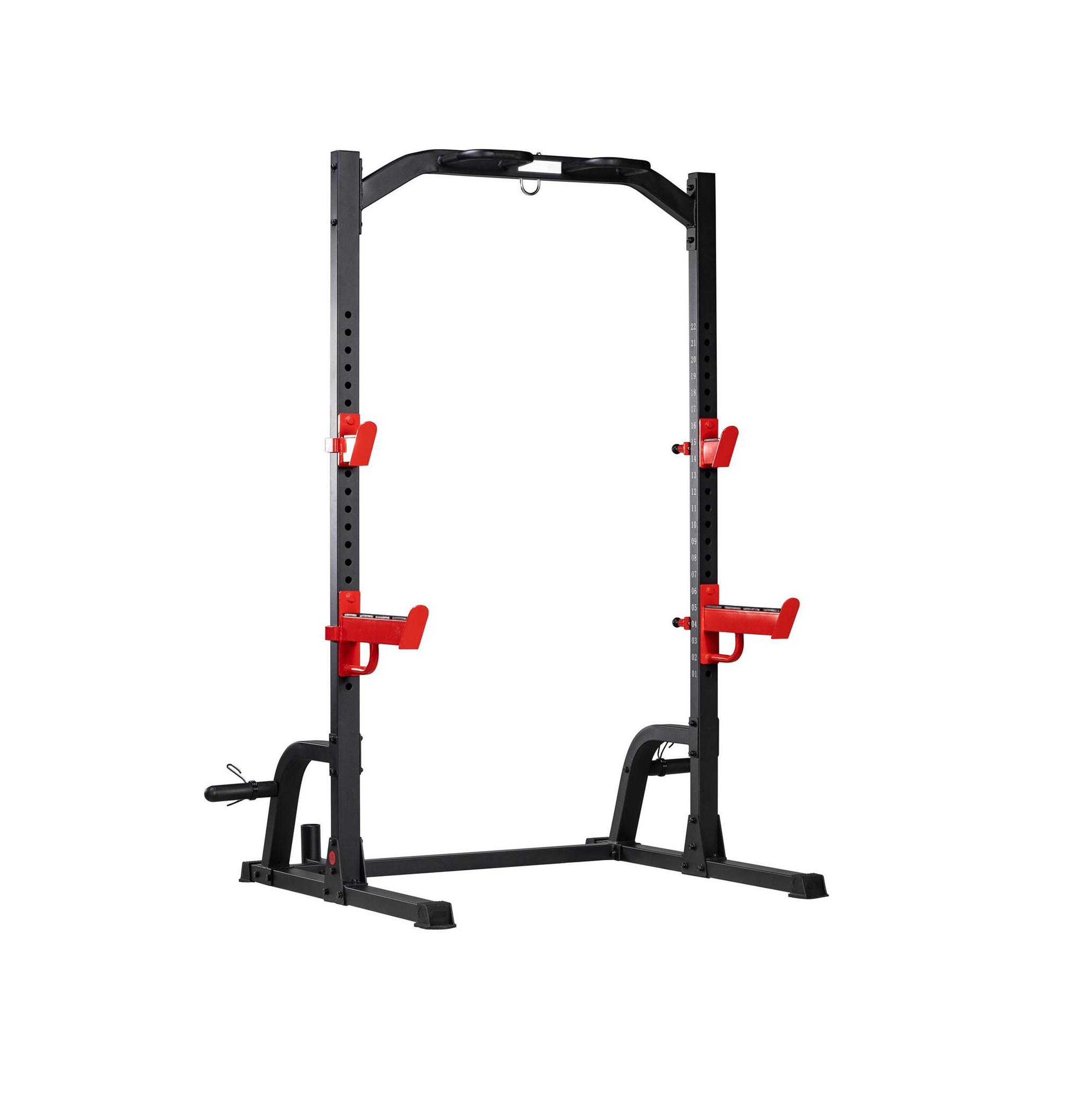 TEKKNOFIT - Half rack squat rack con barra di trazione porta dischi