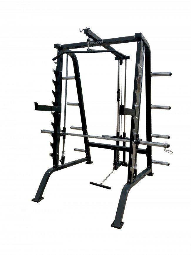 DIAMOND - Smith Machine Half Rack e Lat Bar Professionale Luxury