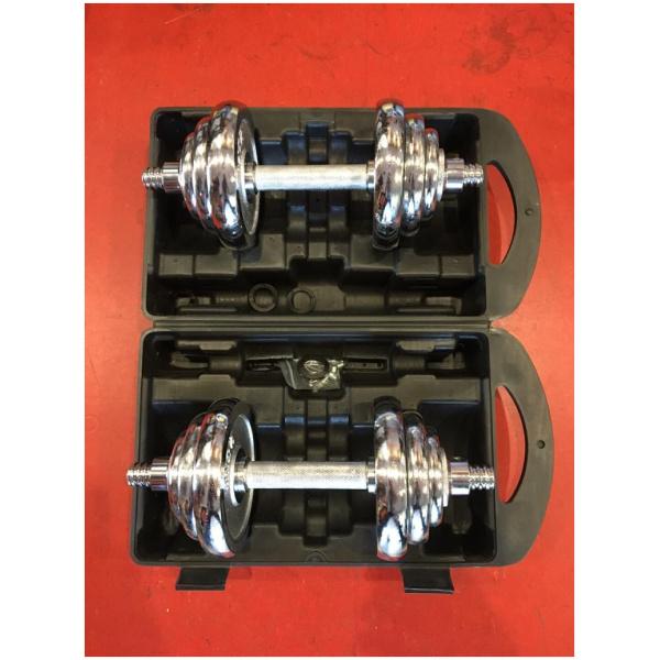 TEKKFIT - Valigetta set dischi e manubri cromati 20 kg-1