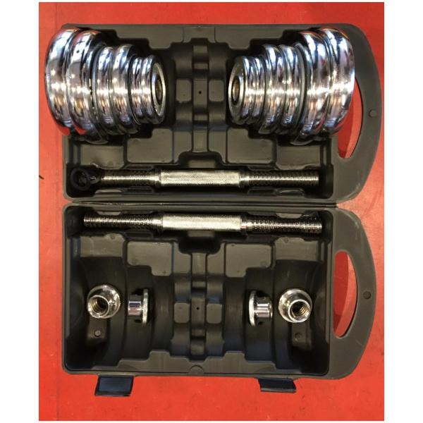 TEKKFIT - Valigetta set dischi e manubri cromati 20 kg-3